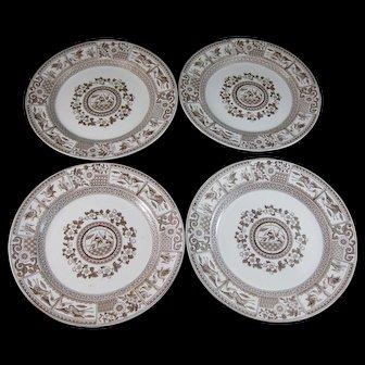 Set/ 4 Large Aesthetic Transferware Plates – Birds & Flora ca. 1880 (40% OFF)
