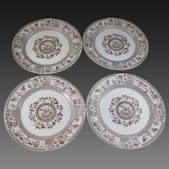Set/ 4 Large Aesthetic Transferware Plates – Birds & Flora ca. 1880