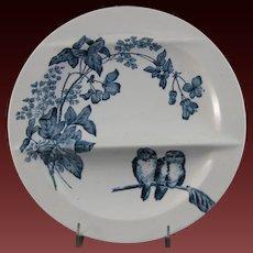 Victorian Aesthetic French Transferware Asparagus Plate – Birds ca. 1887
