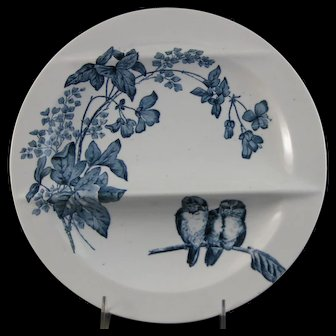 Victorian Aesthetic French Transferware Asparagus Plate – Birds ca. 1887
