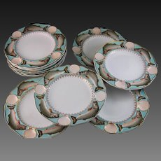 Rare & Magnificant Set of 12 Minton Fish / Seafood Plates – 1873