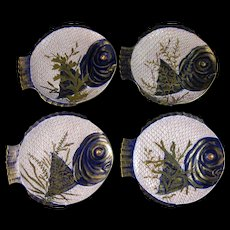 Rare and Whimsical Set / 4 English Victorian Fish Plates - 1870s-80s