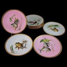 Gorgeous Victorian Set Mintons Cabinet Fish Plates – 1880