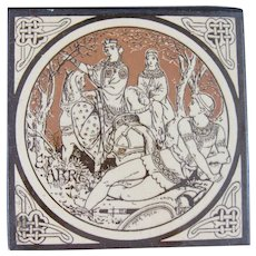 Aesthetic Movement Moyr Smith Victorian Tile – Pelleas and Etarre ca. 1876