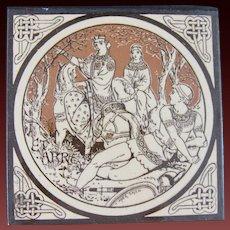 Aesthetic Movement Moyr Smith Victorian Tile – Pelleas and Etarre ca. 1876