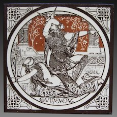 Aesthetic Movement Moyr Smith Victorian Tile – Guinevere ca. 1876