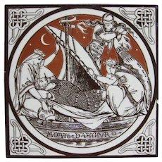 Aesthetic Movement Moyr Smith Victorian Tile – Morte D'Arthur ca. 1876