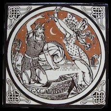 Aesthetic Movement Moyr Smith Victorian Tile – Excalibur ca. 1876