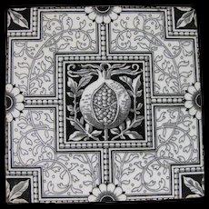 English Victorian Aesthetic Movement Transferware Tile – Minton Pomegranate