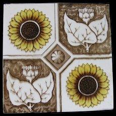 English Victorian Transferware Tile – Sunflowers 1880s