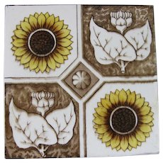 English Victorian Transferware Tile – Sunflowers 1880s