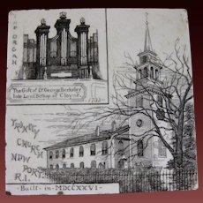 English Victorian Brown Transferware Tile – Trinity Church, Newport, Rhode Island