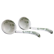 Pair English Victorian Green Transferware Earthenware Ladle - Late 1800s