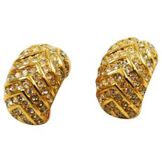 Christian Dior Elegant Rhinestone Clip On Earrings