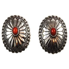Sterling Silver & Red Coral Native American Earrings