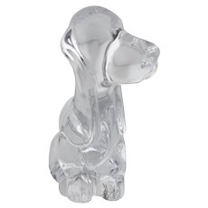 Daum Basset Hound Crystal Figurine Nancy France