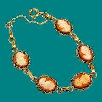 Victorian Revival Cameo Bracelet Gold Filled