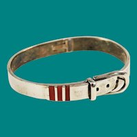 Mexican Sterling & Coral Buckle Bracelet