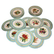 Hand Painted 19th Century Dessert Service - Porcelain - 4 Comports & 9 Plates Botanical