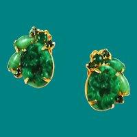 Green Jade Glass & Rhinestone Clip On Earrings 1960's Vintage