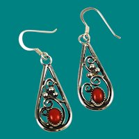 Red Coral and Sterling Native American Earrings