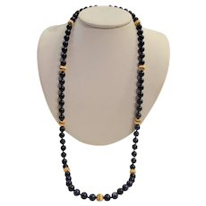Lapis Lazuli & Solid; 14k Gold Bead Necklace - 29 Inches - 8mm Beads