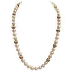 Akoya Pearl 7 MM & Solid 14 K Gold Beads Necklace + 14 K Clasp Marked -