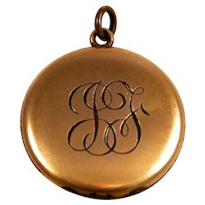Gold Filled Double Photo Locket Engraved JF