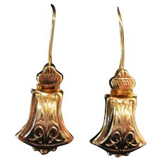 Victorian 10 K - Marked Gold Dangle Earrings - Antique