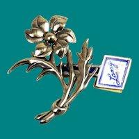 Sterling Silver Vintage Floral Brooch by Lang
