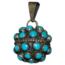 Sterling & Turquoise Ball Pendant Mexican