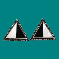 Modernist Black Onyx & Mother of Pearl Marcasite Earrings