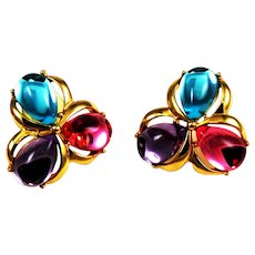 Trifari Jelly Belly Vintage Earrings