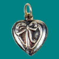 Sterling Puffy Heart Ribbon Charm Victorian