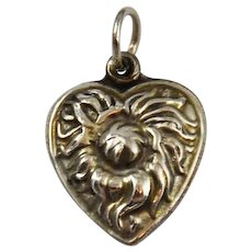 Sterling Silver Puffy Heart Thistle Charm Victorian