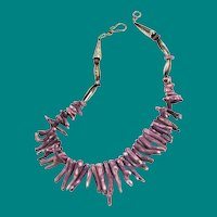Sterling and Lavender Purple Branch Coral Necklace - Rare Vintage Natural