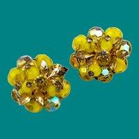 Coro Yellow Crystal Beaded Cluster Earrings