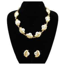 Judy Lee Baroque Glass Pearl Necklace & Earring Set