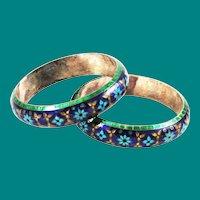 Blue & Green Cloisonne Enamel  Sterling Bracelets