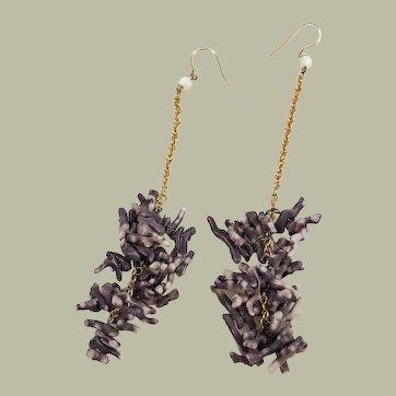 Purple Coral Chandelier Earrings Rare