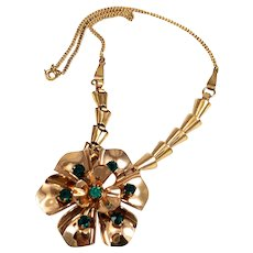 Barclay Gold Filled & Rhinestone Floral Necklace