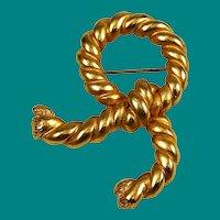 Erwin Pearl Bow Brooch Designer Gold