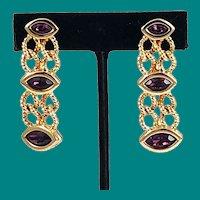 Swarovski Amethyst Dangle Earrings - Signed
