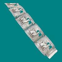 Silver Llama Bracelet Vintage Industria Peruana 900