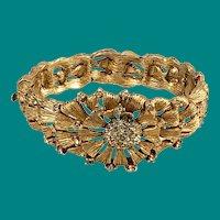 Gold Plated Rhinestone Hinged Bracelet Floral Design