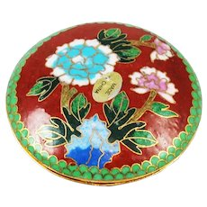 Red Cloisonne Round Trinket Box Vintage Chinese