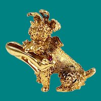 14K Gold Poodle with Ruby Shoe Charm