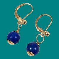 Lapis Lazuli & 14K Gold Pierced Earrings