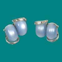 Kramer Ice Blue Moonglow Lucite Earrings Clip On