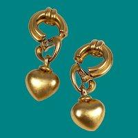 Erwin Pearl Designer Gold Heart Clip On Earrings
